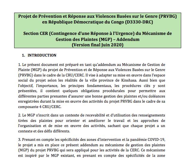 Section CER (Contingence d'une Réponse à l'Urgence) du Mécanisme de Gestion des Plaintes (MGP) – Addendum (Version final Juin 2020)
