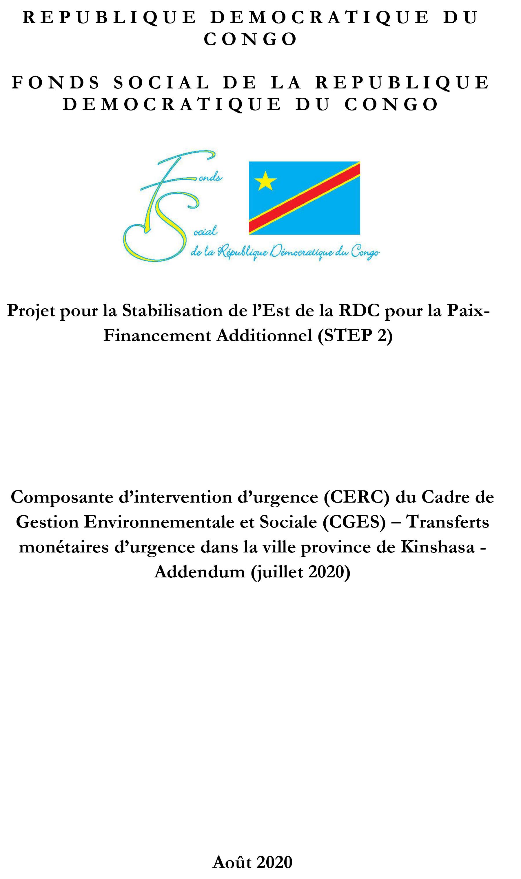 Projet pour la Stabilisation de Est de la RDC pour la Paix Financement Additionnel (STEP 2)